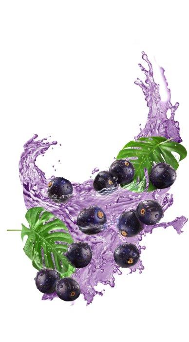 A splash of purple liquid with berries