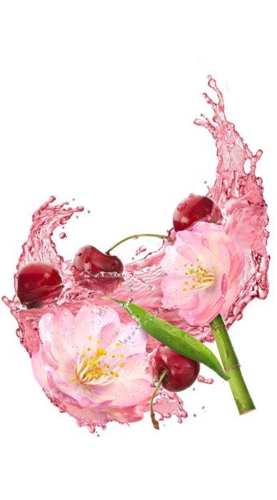 Pink liquid splashing with fruit
