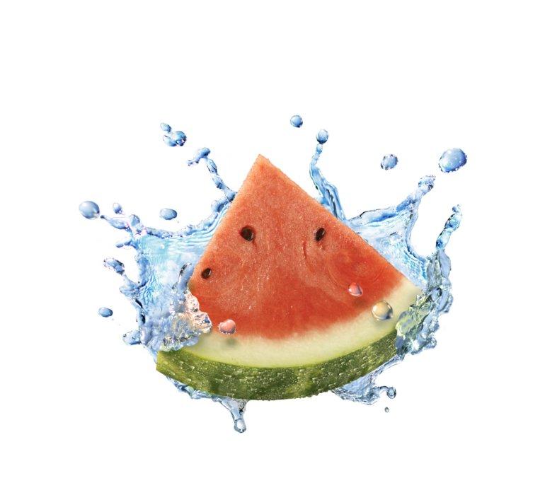 Water splashing with water melon