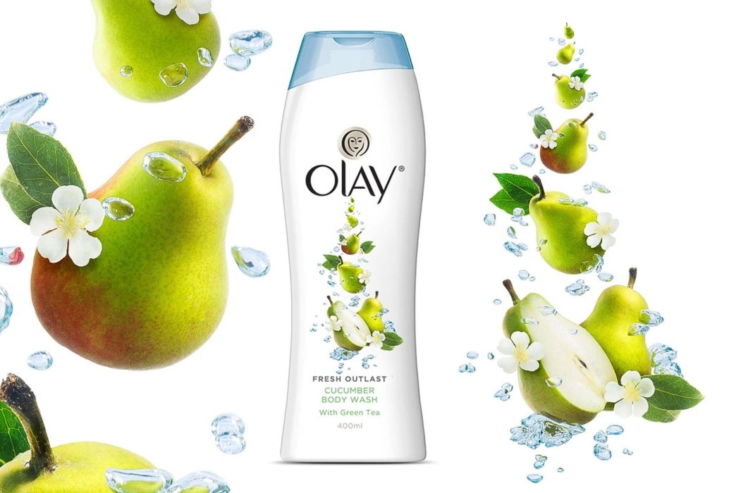 Splashed and falling fruit pears and flowers for Olay