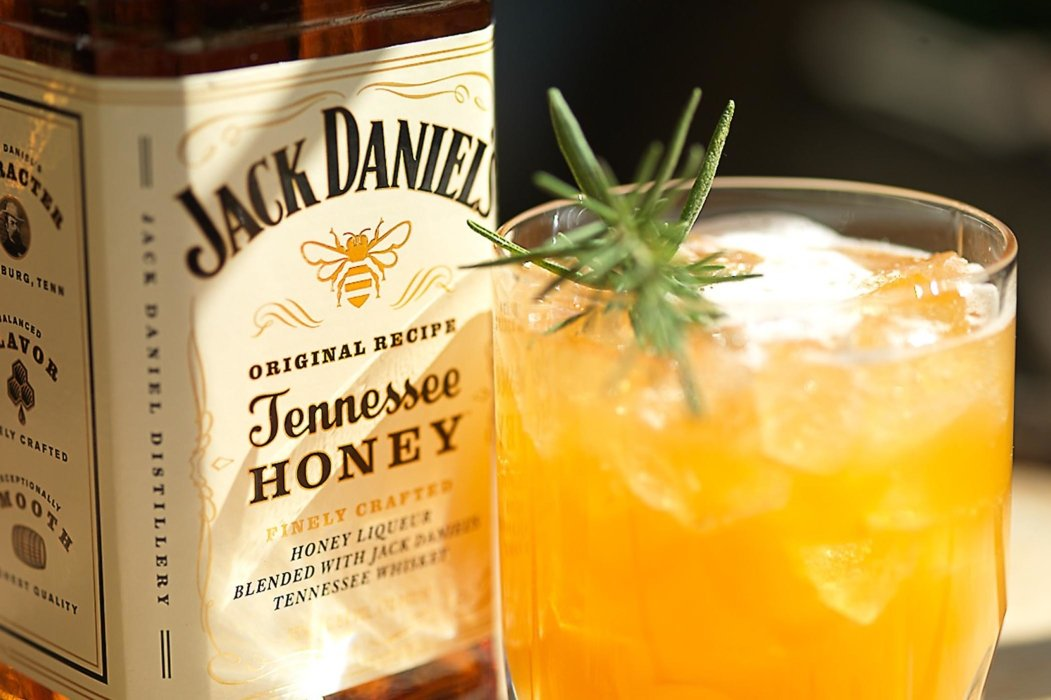 Jack Daniel's honey whiskey in an orange cocktail