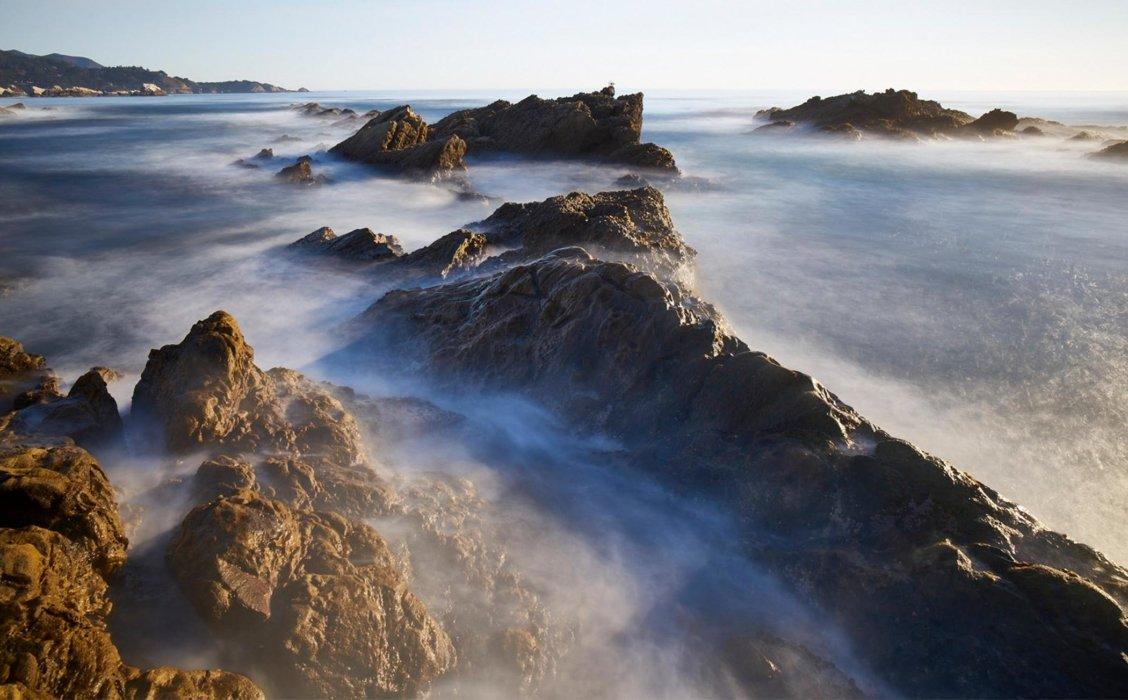 A rocky misty shore