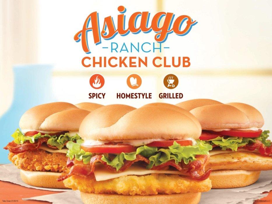Wendy's chicken club advertising
