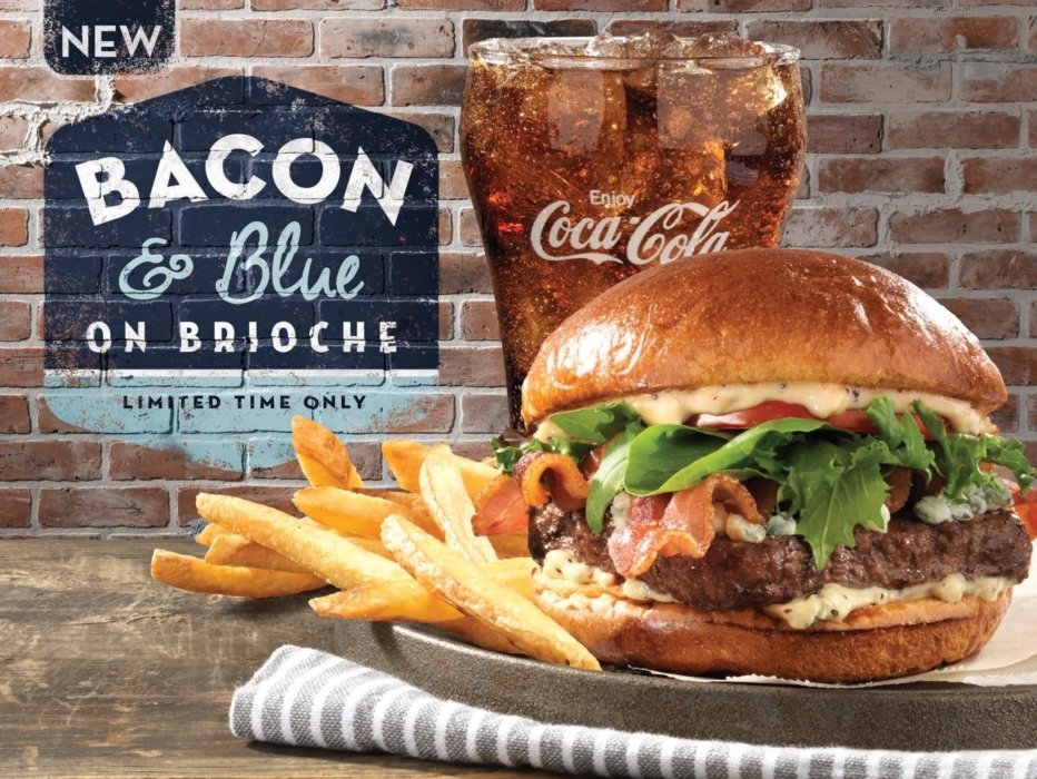 Bacon and blue cheese burger advertising