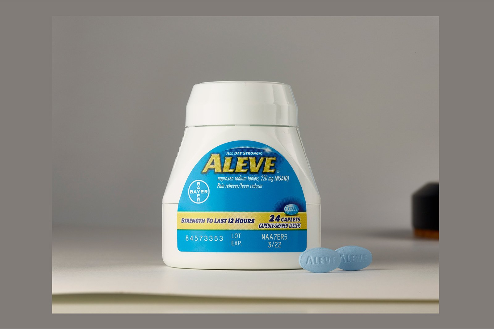 Aleve Bottle Product Before Photo Retouching