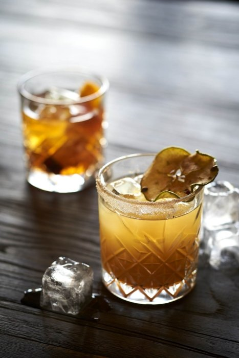Drink photography - A whiskey cocktail with sugar and garnish