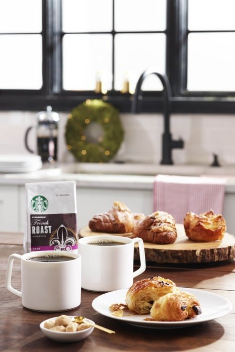 Product photography - Starbuck french roast coffee with croissant