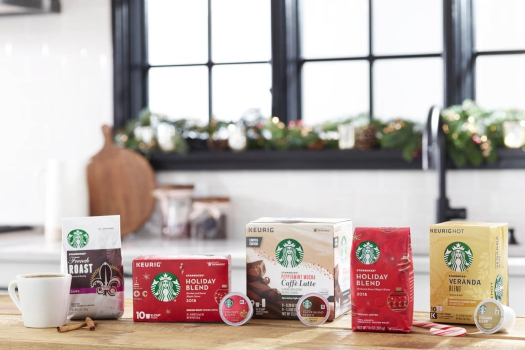 Product photo - Starbuck family of holiday themed coffees