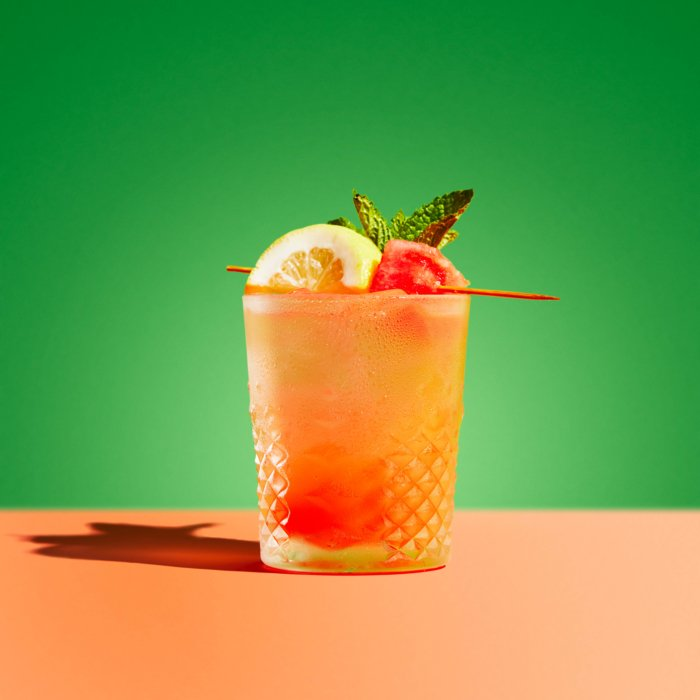 Watermelon Lemon Mint Cocktail - Drink Photography - Modern - Pink