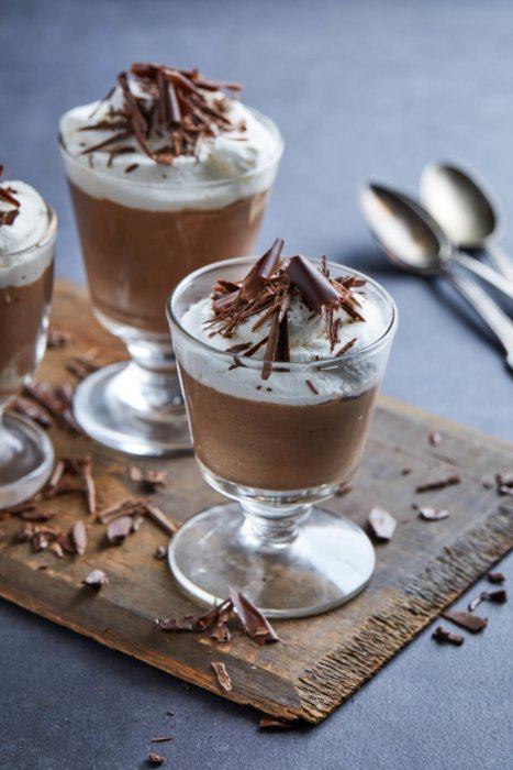 Three chocolate mousse dishes - food styling