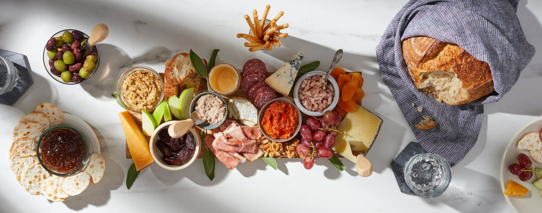 A filled charcuterie board - food styling