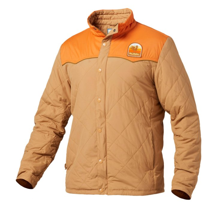 A hollow-man ecommerce photo of a rural cloth jacket orange - apparel photography