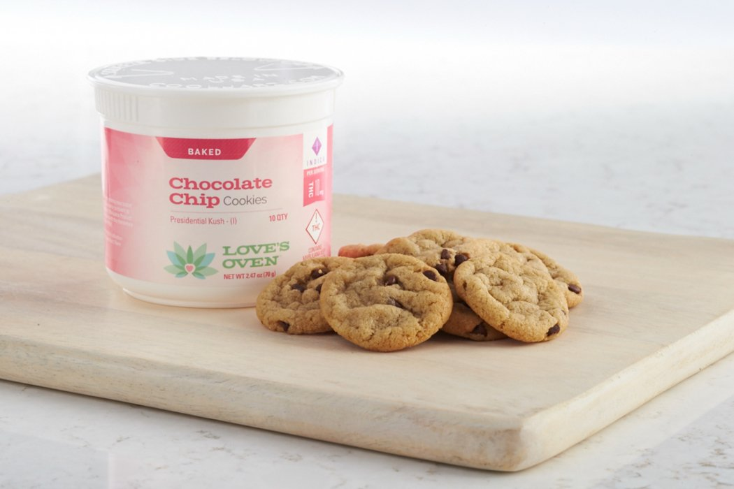 Love's oven cbd chocolate chip cookies cannabis product photography