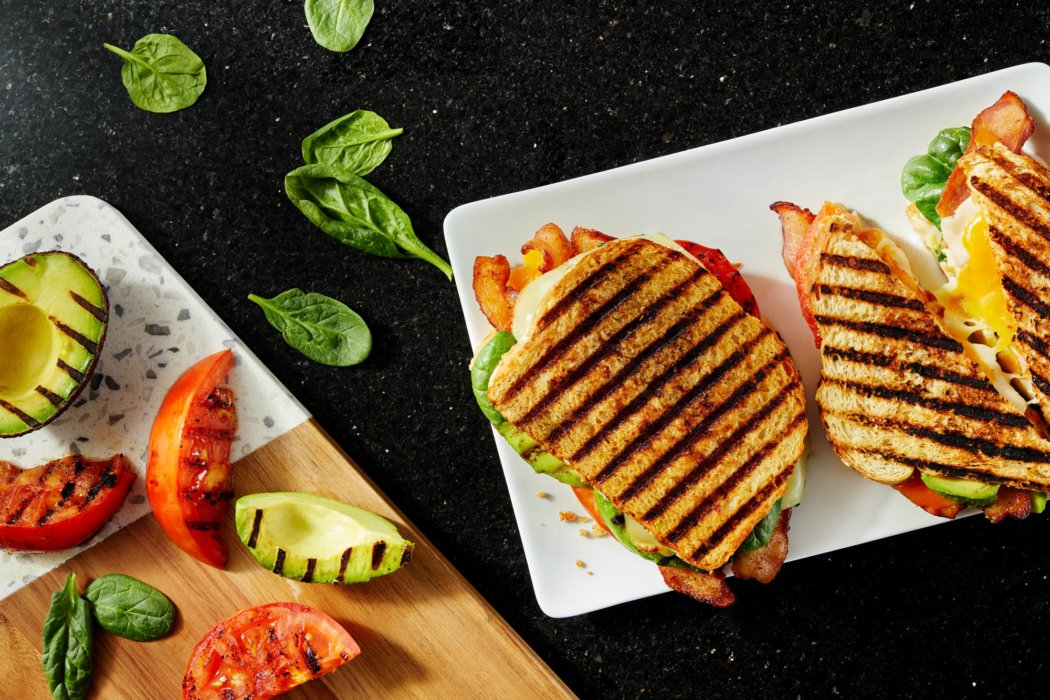Panini press sandwiches - food photography