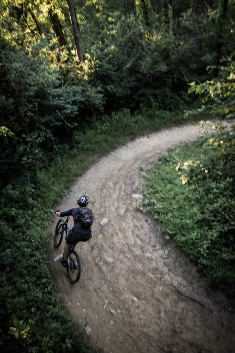 A cyclist on a bike climbing a dirt switchback in the woods