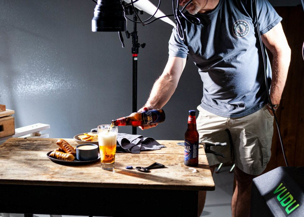 TJ Vissing Photographer Pouring Beer on A Beer Cheese Video Shoot