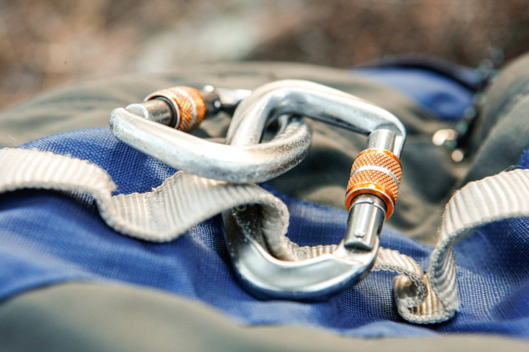 A set of camping carabiners