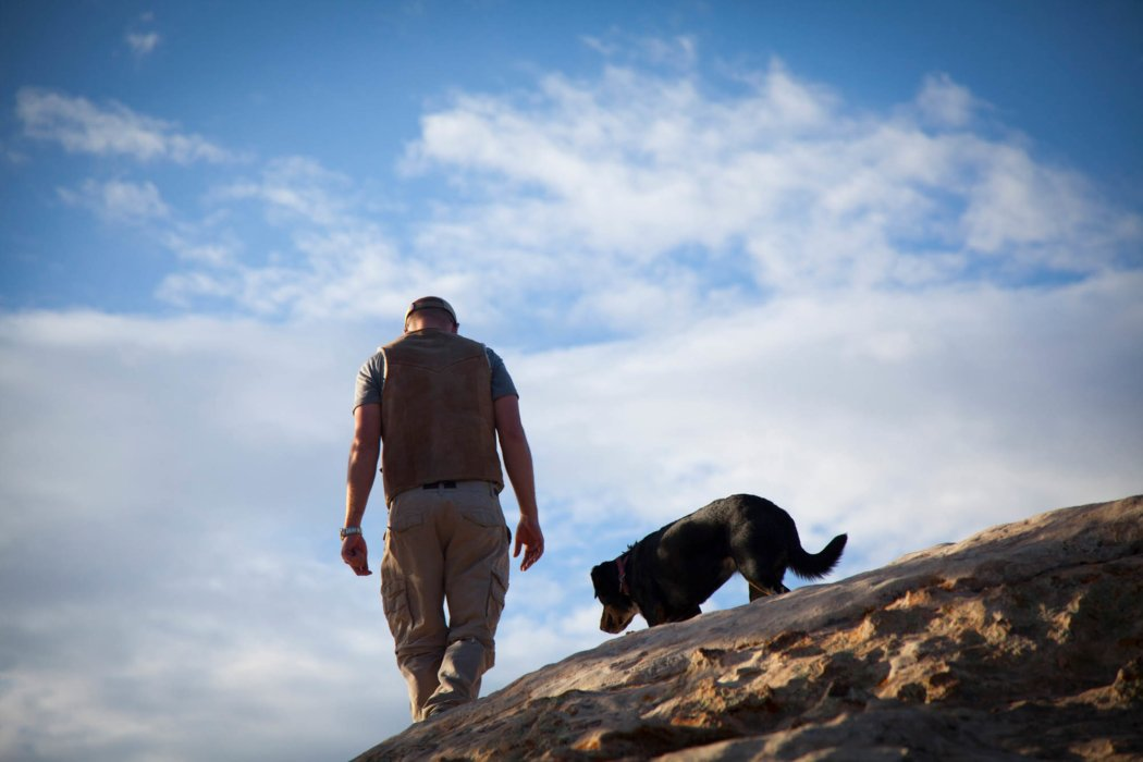 A man hiking down a rock side with a dog