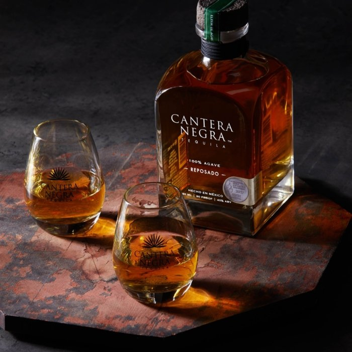 Two glasses of cantera negra tequila reposado