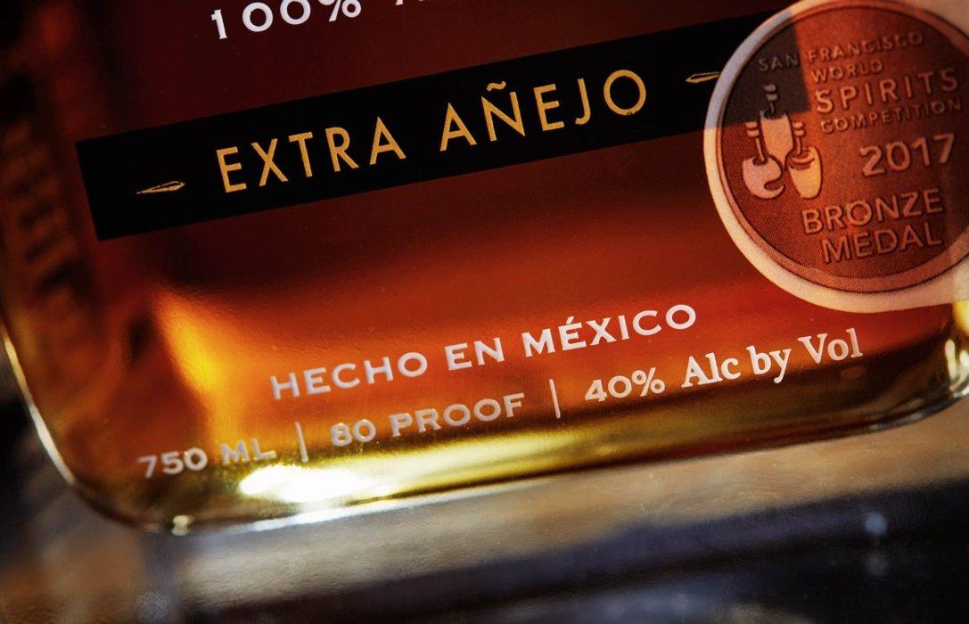 Extra Anejo tequila liquor - bottle - hecho en Mexico