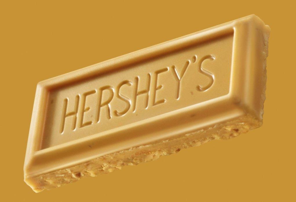 Hershey's golden bar floating on gold