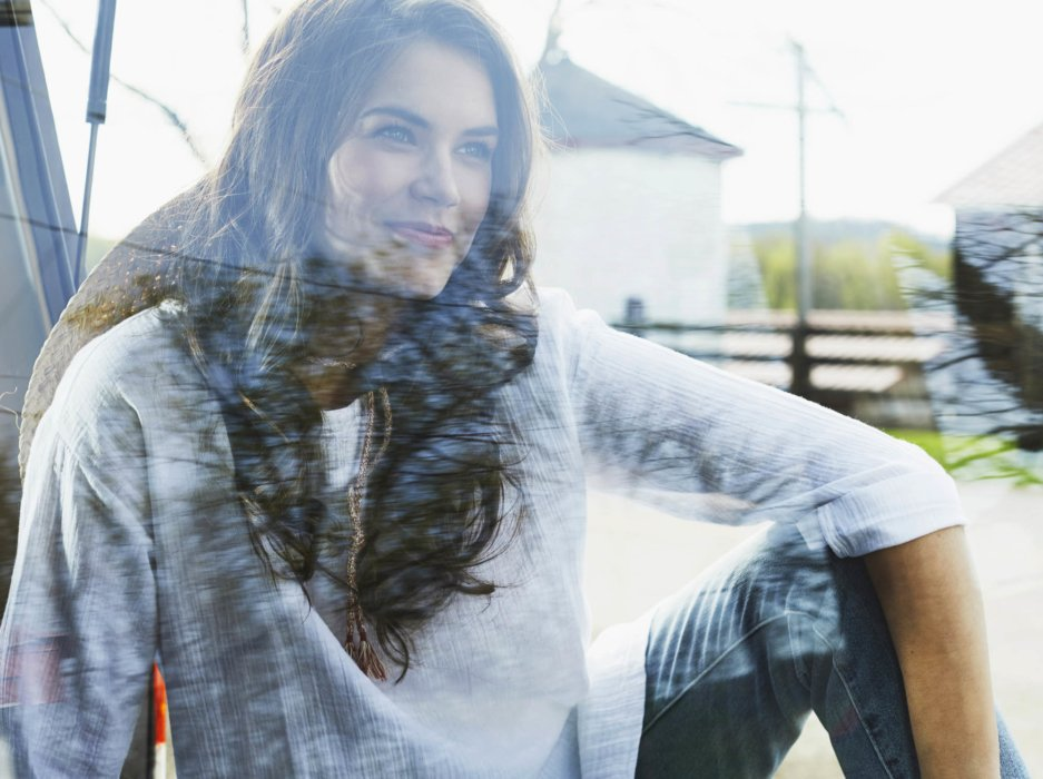 Lifestyle woman in car window apparel photography