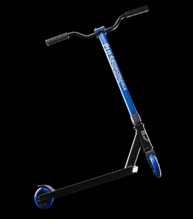 blue scooter pulse performance products blue wheels black rubber handle bars products