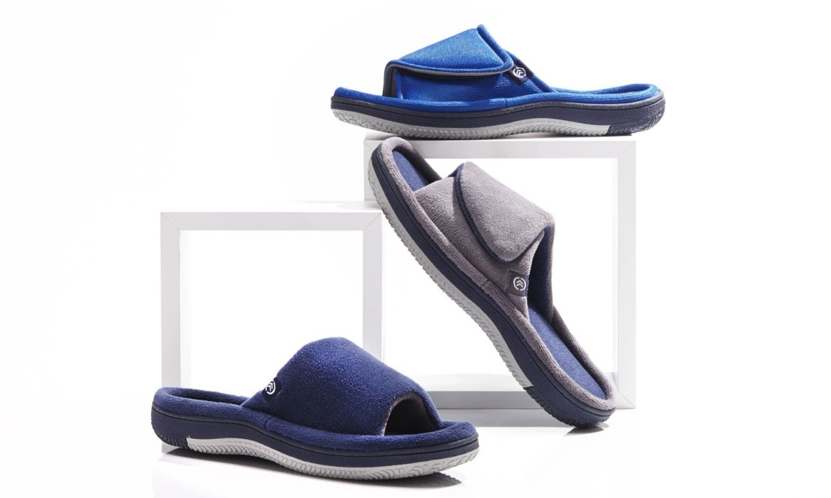 sandals comfort blue and gray product