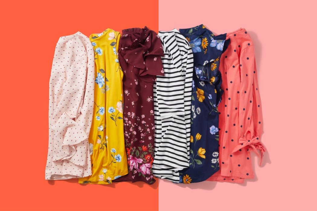 A group of colorful shirts - product photography