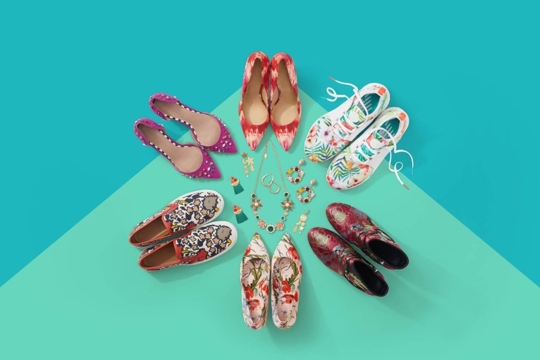 Shoes on a colorful background -product photography