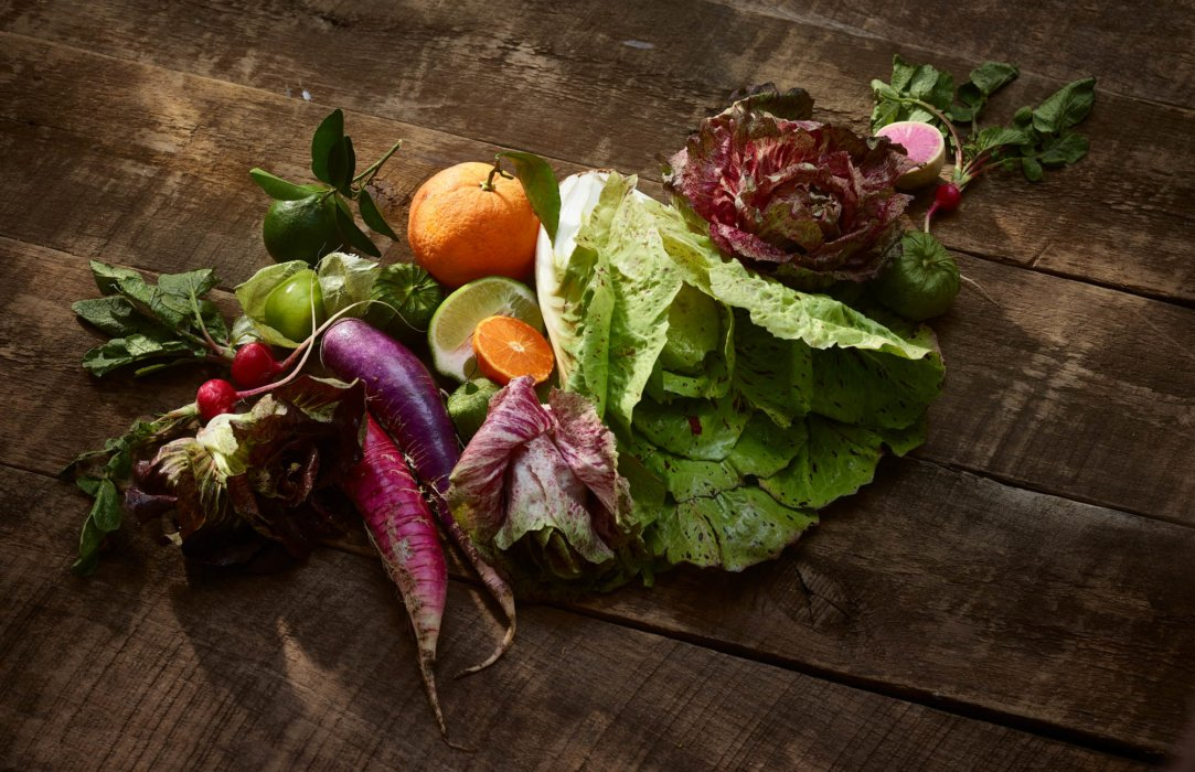 Mexico inspired editorial food photography - raw foods and veggies on wood