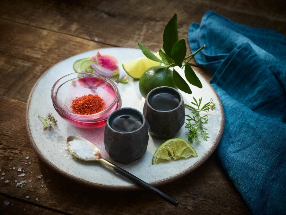 Mexico inspired editorial food photography - drinks on plate