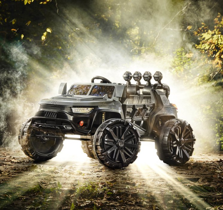 An epic toy car product with glowing god rays outdoor