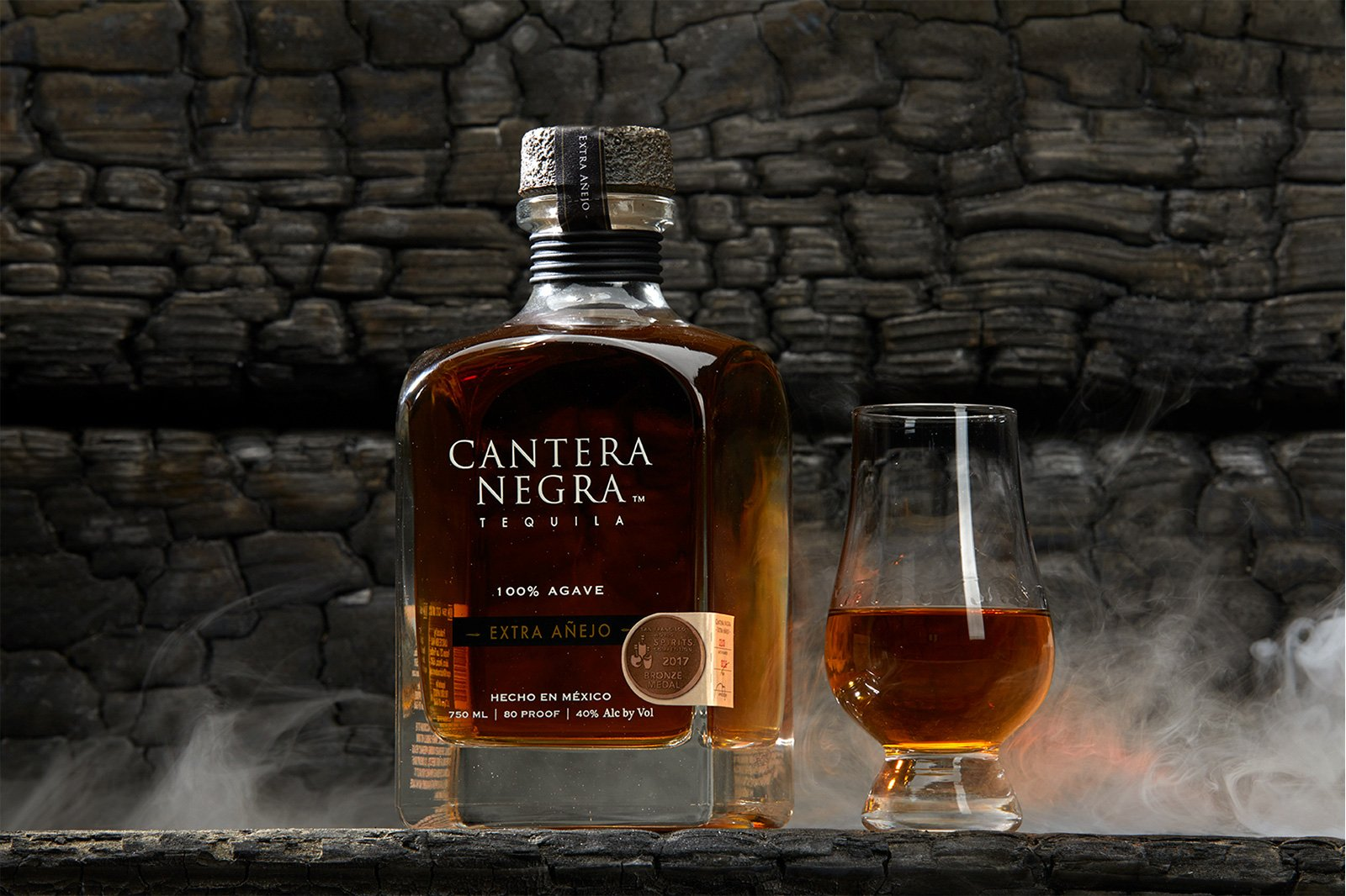 A cantera negra bottle with smoke before retouching