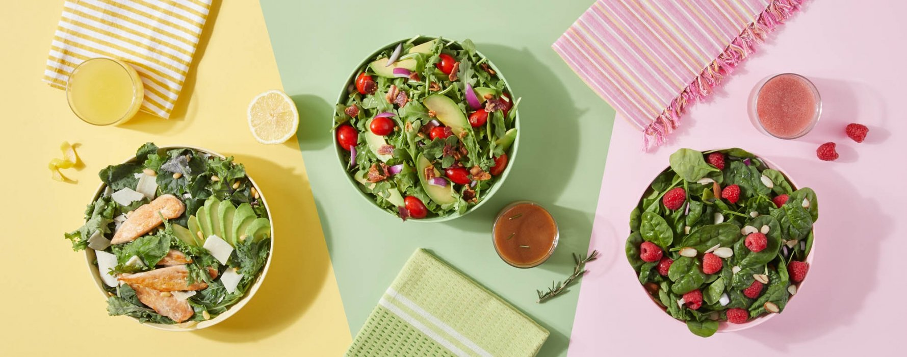 Three delicious salads - food photography