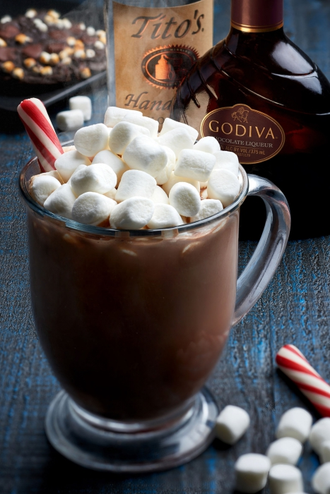 Godiva chocolate liqueur and titos vodka chocolate cocktail with marshmallows - drink photography