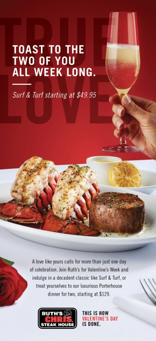 Ruth Chris steak house ad featuring a steak and lobster - food photography