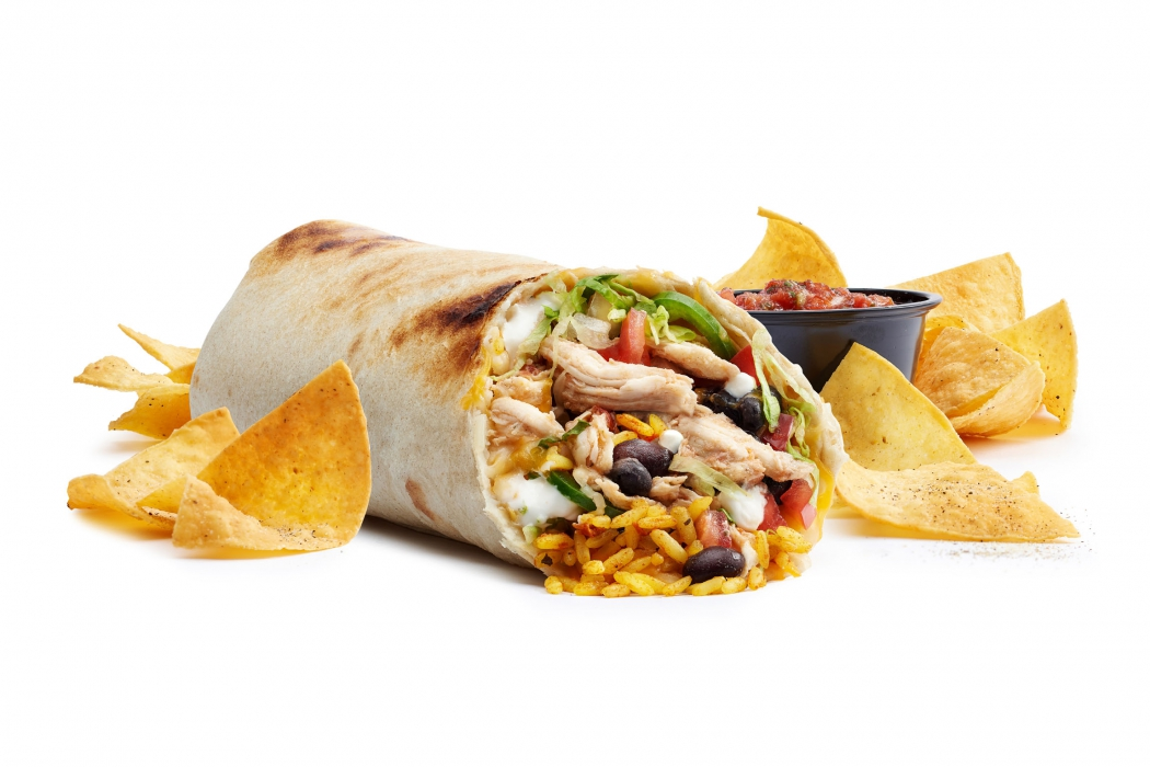 Burrito chicken with salsa and chips - food photography