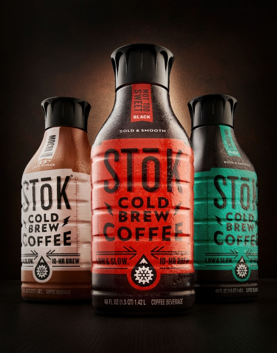 Excellent product shot of STOK cold brew coffees - drink photography