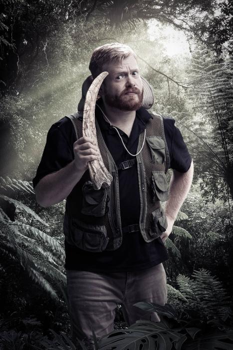 Man with fossil portrait of jurassic quest cast - portrait photography - photo composite