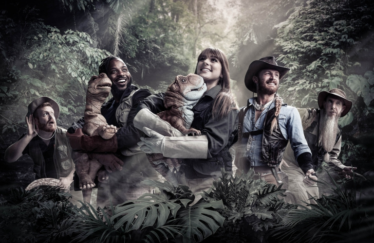 Group portrait of jurassic quest cast - portrait photography - photo composite