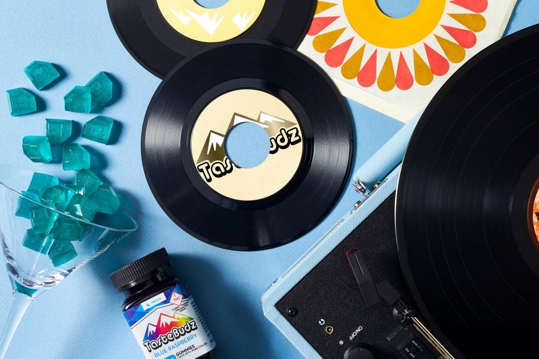 Tastebuds CBD Cannabis Gummies with record player - CBD and Cannabis Photography