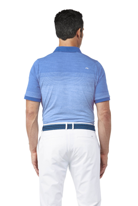 Golf Apparel Mens Blue Shirt On Male Model Back - Ecommerce Photography