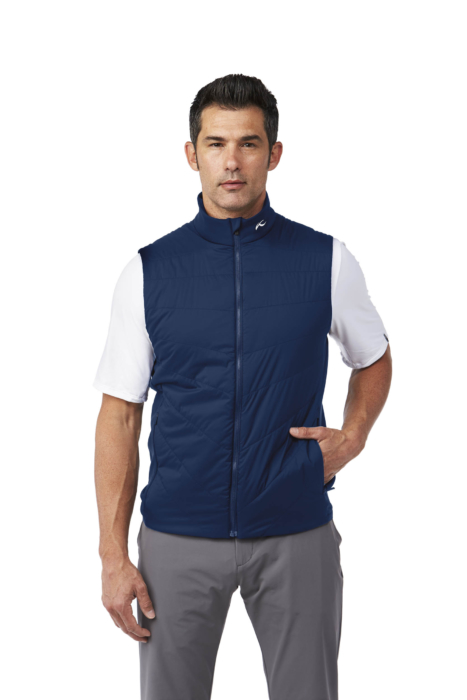 ecommercere - blue vest kjus on male model on white - product photography