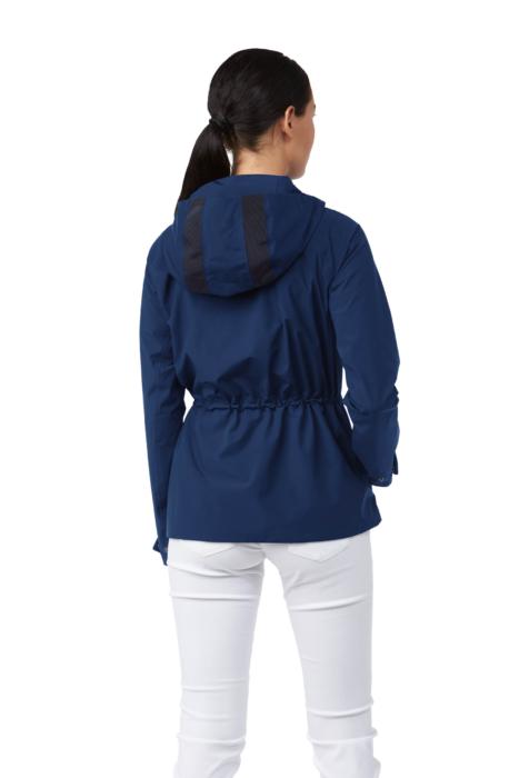 ecommercere - blue female coat kjus on white on model BACK - product photography