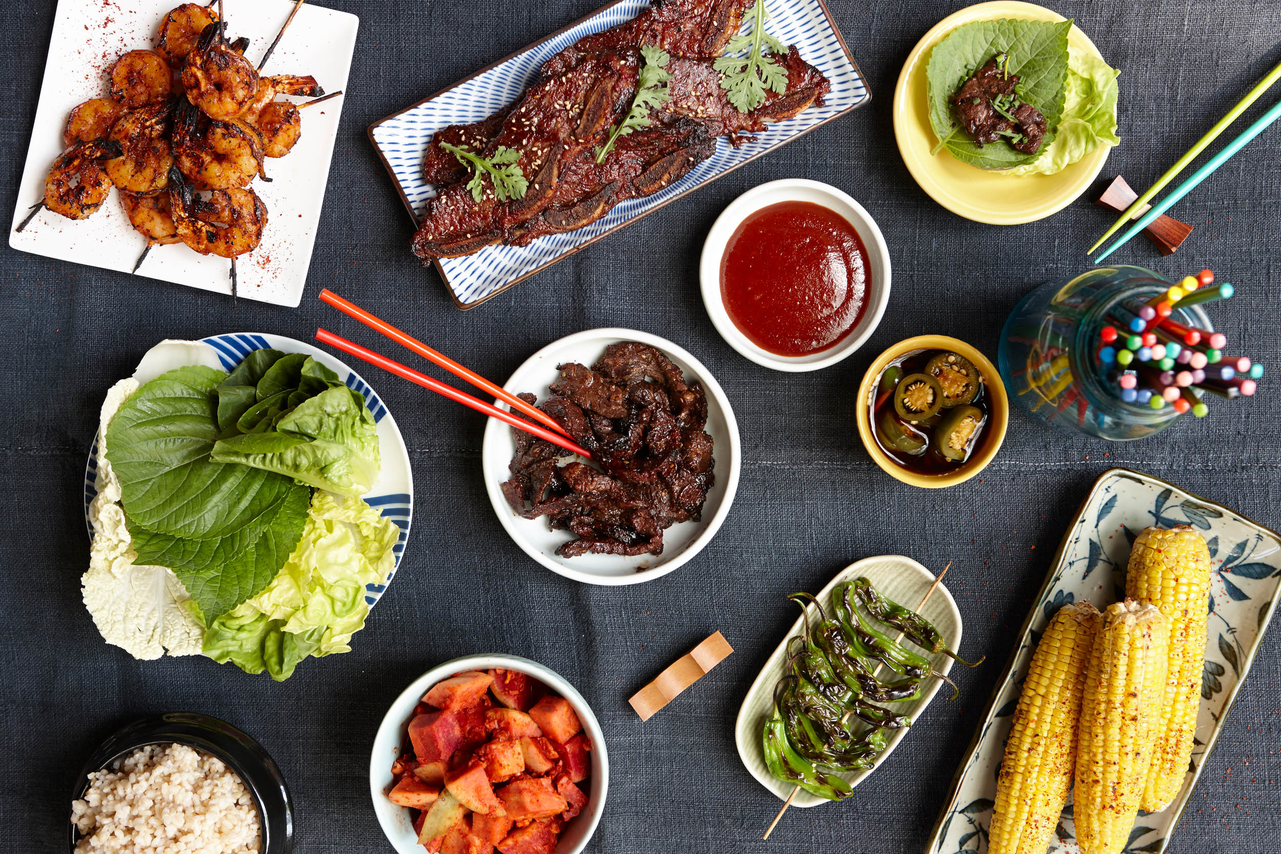 A overview of a Korean BBQ spread - Food photography