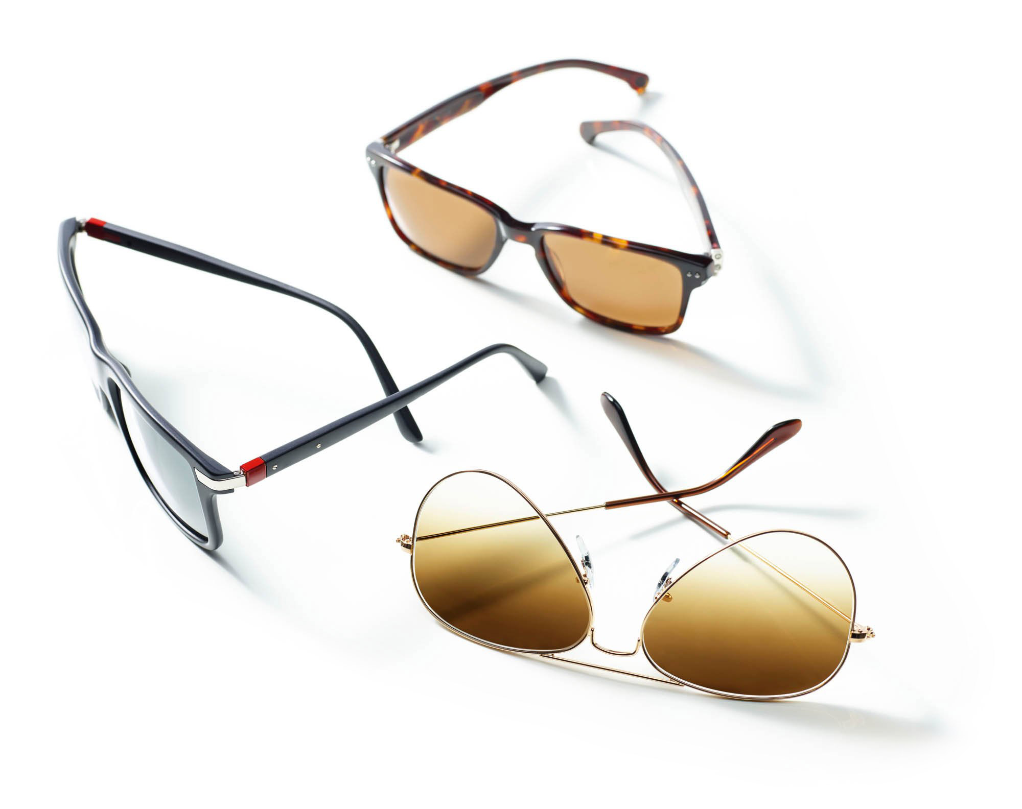 Three sunglasses for ecommerce photography